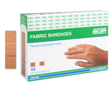 Fabric Bandages, 2.2 x 7.6 cm, Lightweight, 100/Box