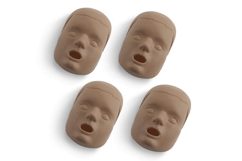 Prestan Child Manikin Face Skin Replacements - 4 Pack - Dark Skin Tone