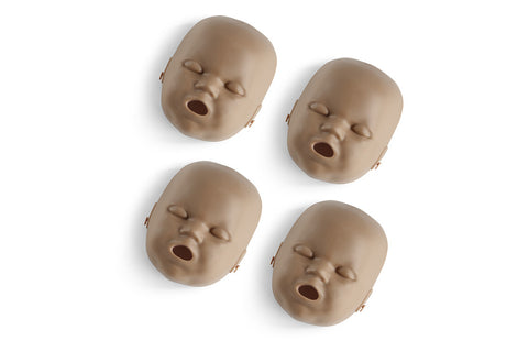 Prestan Infant Manikin Face Skin Replacements - 4 Pack - Dark Skin Tone
