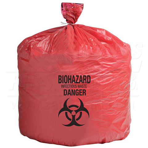 Infectious Waste Bags, 61 x 61 cm 37.9 L, 250/Case