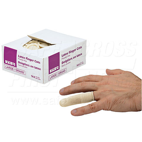 Finger Cots, Latex, Powder-Free, Large, 144/Box
