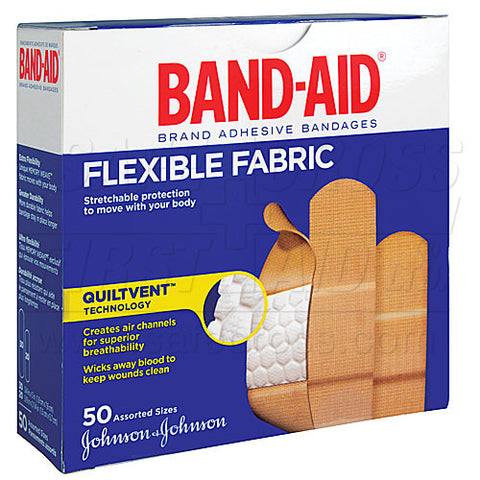 Band-Aid Brand, Fabric Bandages, Assorted, 50/Box