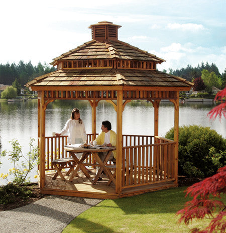 10' Hexagon Gazebo with 10' Hexagon Cupola