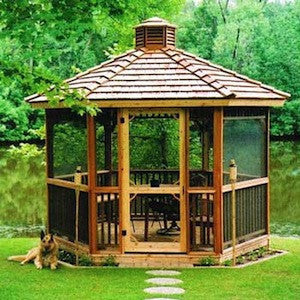 10' Hexagon Gazebo w Optional Screen Kit & Cupola
