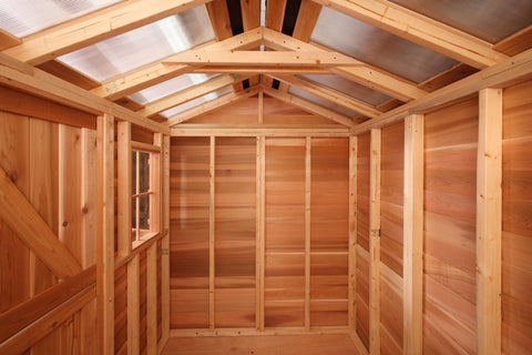 inside shed with skylight