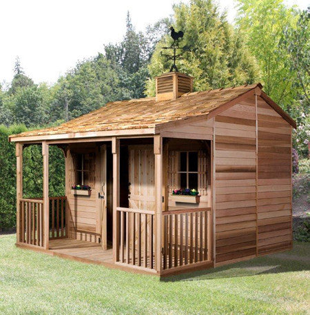 Garden shed with covered porch backyard shed living space for Sheds with porches for sale