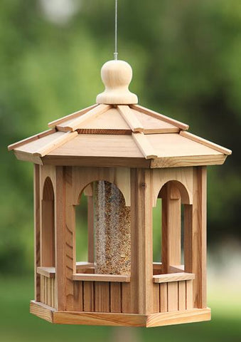 Cedarshed Canada's cedar hexagon gazebo bird feeder