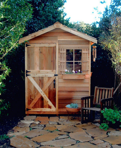 Gardener Shed with stone patio