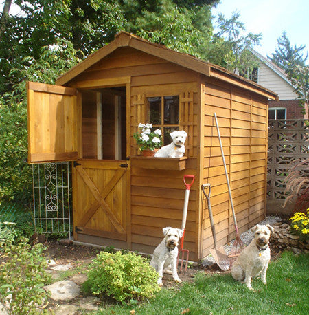 Cedarshed Gardener Shed Kit and friendly dogs