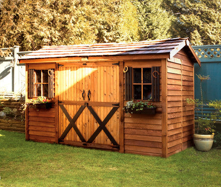 Long shed kits cedar summer houses garden cottages for Canadian kit homes