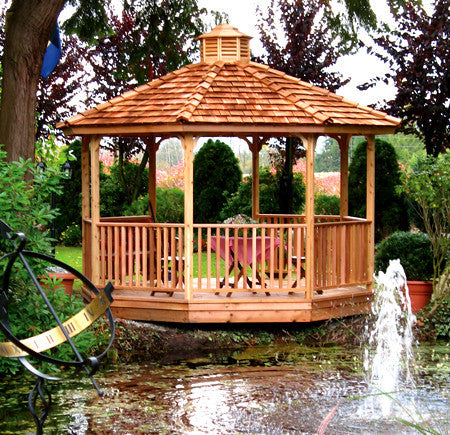 Octagon Gazebo Kit surrounded by pond