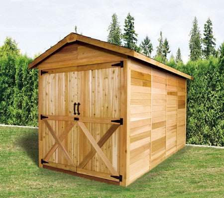 double door cedar shed