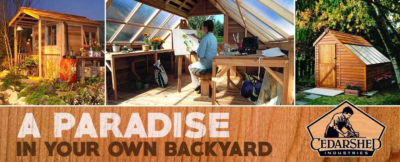 Cedarshed Shed banners - a paradise in your own backyard