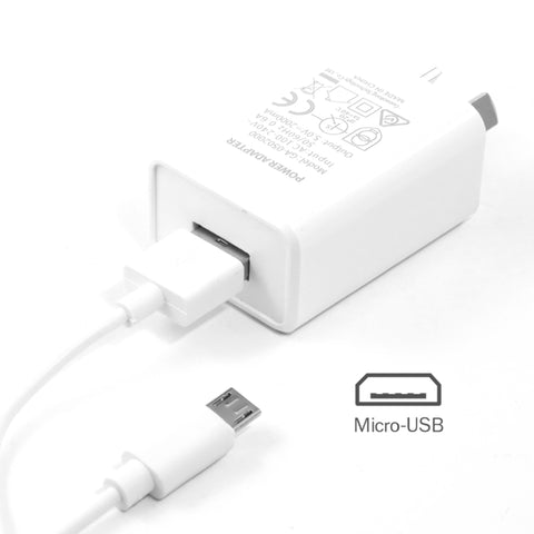 2A Wall Charger + Micro USB cable - White (combo)