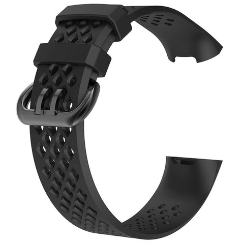 Rubber Strap for Fitbit Charge 3 - Black - screenhug