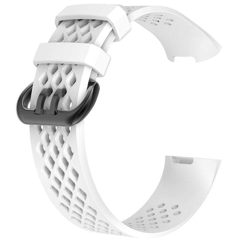 Rubber Strap for Fitbit Charge 3 - White - screenhug