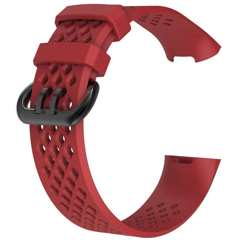 Rubber Strap for Fitbit Charge 3 - Red - screenhug