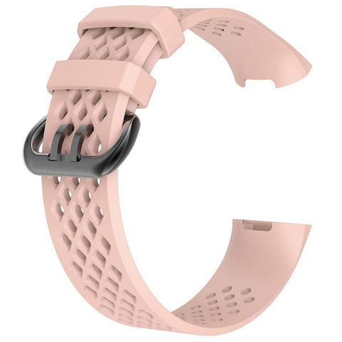 Rubber Strap for Fitbit Charge 3 - Pink - screenhug