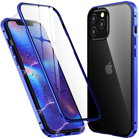 Metal Mag Glass case for iPhone 12 / 12 Pro - Blue