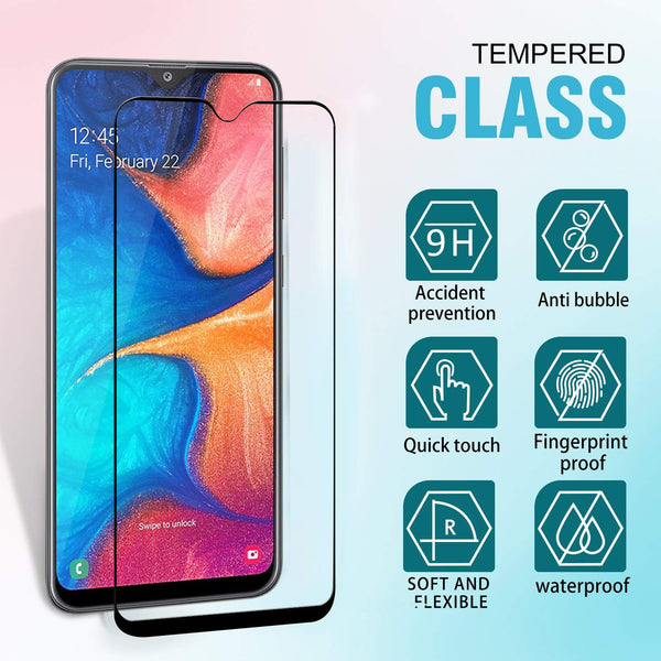 Samsung Galaxy A20 / A30 Glass Screen Protector - Full Edge Black - screenhug