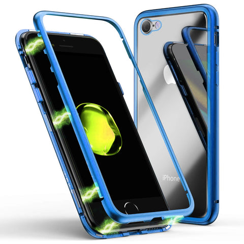 Metal Magnetic Glass case for iPhone 7/8 - Blue