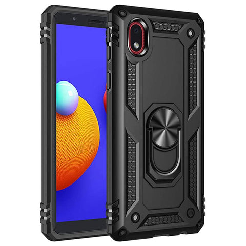 Tough Ring Stand Case for Samsung Galaxy A01 Core - Black
