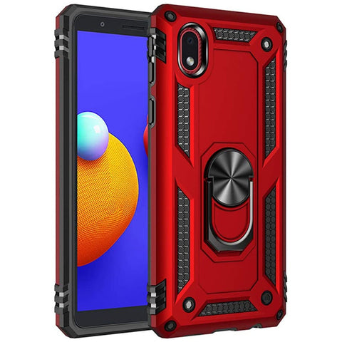 Tough Ring Stand Case for Samsung Galaxy A01 Core - Red