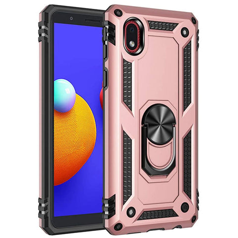 Tough Ring Stand Case for Samsung Galaxy A01 Core - Rose