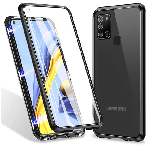 Metal Magnetic Glass case for Samsung Galaxy A21s - Black