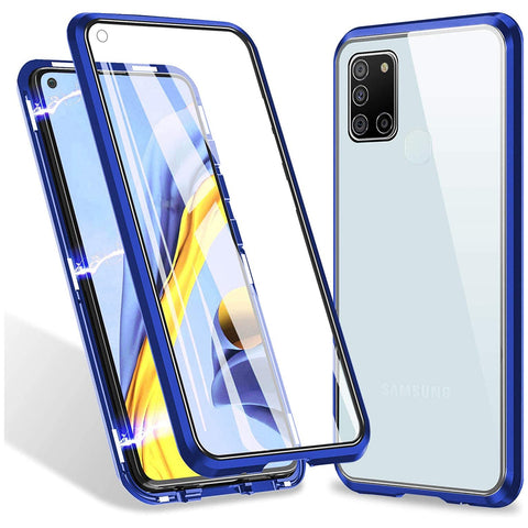 Metal Magnetic Glass case for Samsung Galaxy A21s - Blue