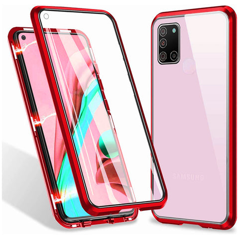Metal Magnetic Glass case for Samsung Galaxy A21s - Red