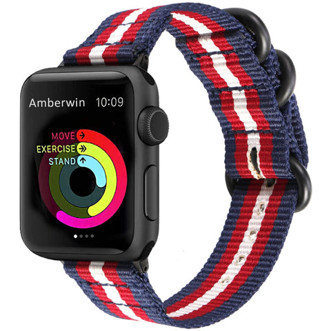 Nato Nylon Strap for Apple Watch 38/40mm - Red/White/Blue