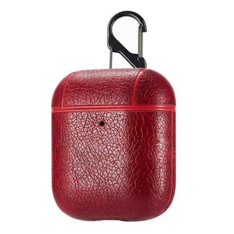 PU Leather Case for Apple Airpods - Cherry Red