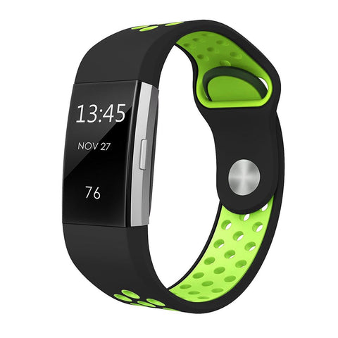 Rubber Sports Strap for Fitbit Charge 2 - Green/Black