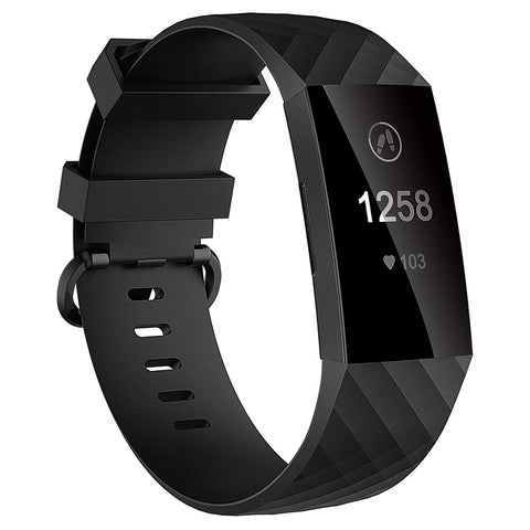 Plaid Rubber Strap for Fitbit Charge 3 / 4 - Black