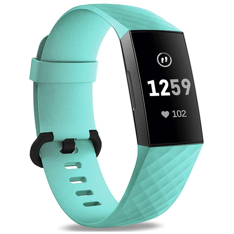 Plaid Rubber Strap for Fitbit Charge 3 / 4 - Teal (Large)