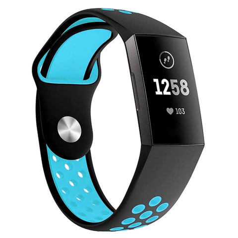 Sports strap for Fitbit Charge 3 / 4 - Blue/Black