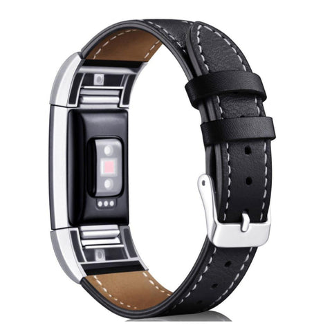 Leather Band for Fitbit Charge 2 - Black