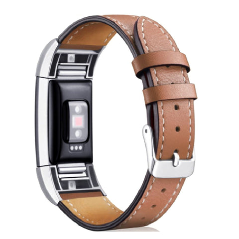 Leather Band for Fitbit Charge 2 - Brown
