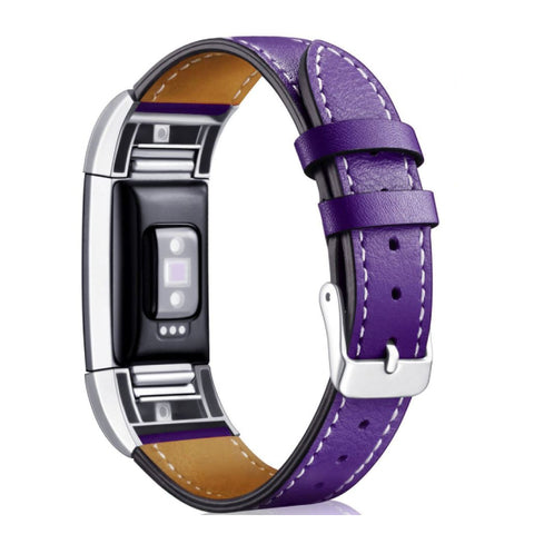 Leather Band for Fitbit Charge 2 - Purple