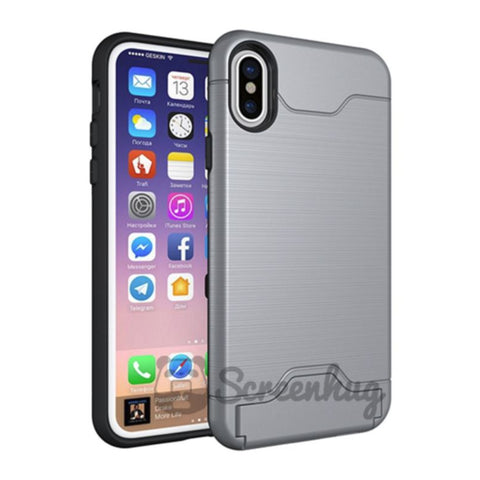Metallic Flip Card case for iPhone X / XS - Silver
