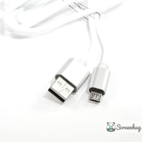 Nylon Weave Micro USB cable - White