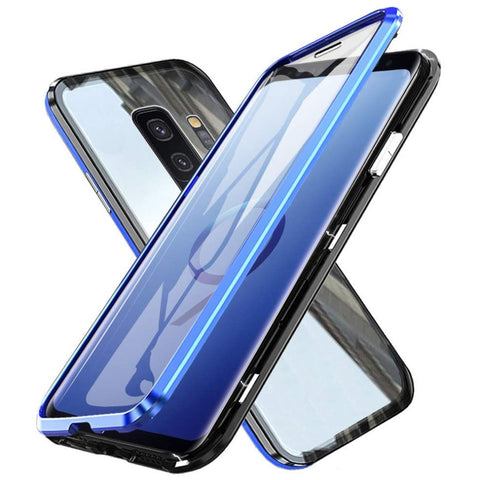 Metal Magnetic Glass Case for Samsung Galaxy S9 - Blue