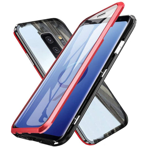 Metal Magnetic Glass Case for Samsung Galaxy S9 - Red