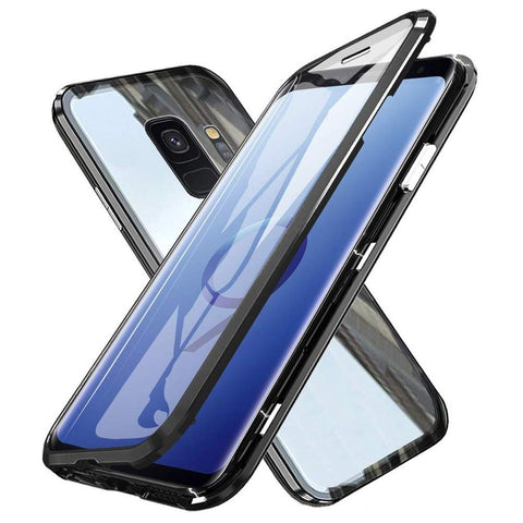 Metal Magnetic Glass Case for Samsung Galaxy S9 - Black