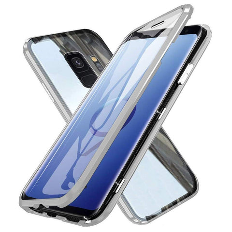 Metal Magnetic Glass Case for Samsung Galaxy S9 - Silver