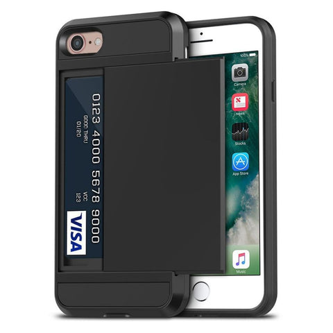 Tough Card Holder Cover for iPhone 7/8/SE - Black