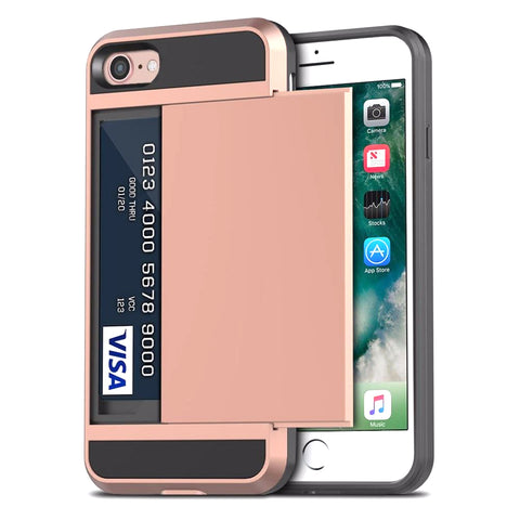 Tough Card Holder Cover for iPhone 7/8/SE - Rose Gold
