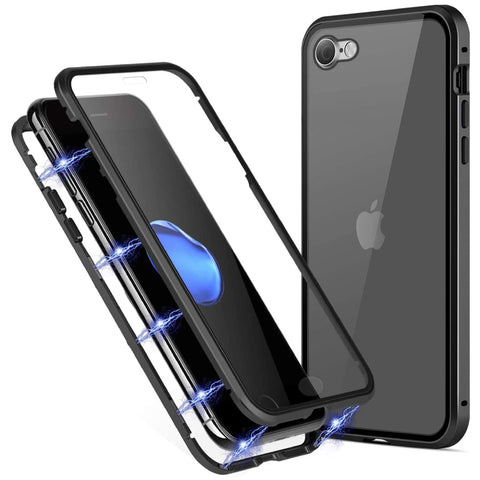 Tough Glass Magnetic case for iPhone SE 2020 - Black