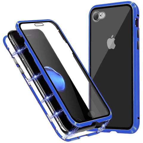 Tough Glass Magnetic case for iPhone SE 2020 - Blue
